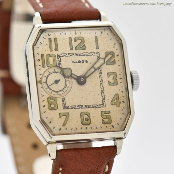 1929 Vintage Illinois Octagonal-shaped 14k White Gold Filled Watch