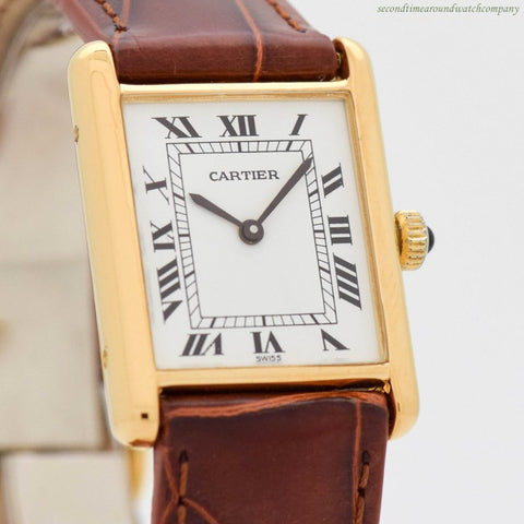 1990's era Cartier Tank Must De Men's Size 18k Yellow Gold Plated Watch