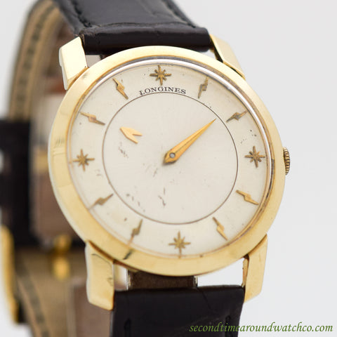 1958 Vintage Longines Mystery Dial Ref. 2226-P 14K Yellow Gold Watch
