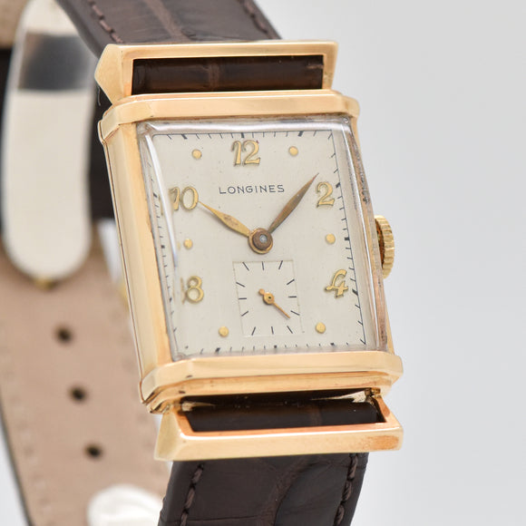 1948 Vintage Longines Rectangular-shaped 14k Yellow Gold Watch (# 13402)