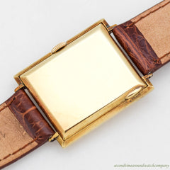 1925 Vintage Longines Rectangular-shaped 14K Yellow Gold Watch