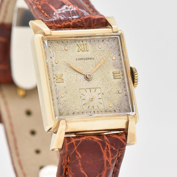 1947 Vintage Longines Square-shaped 10k Yellow Gold Filled Watch (# 13398)
