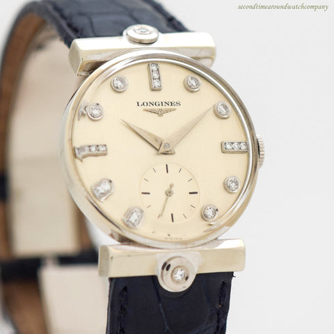 1952 Vintage Longines 14K White Gold & Diamond Watch