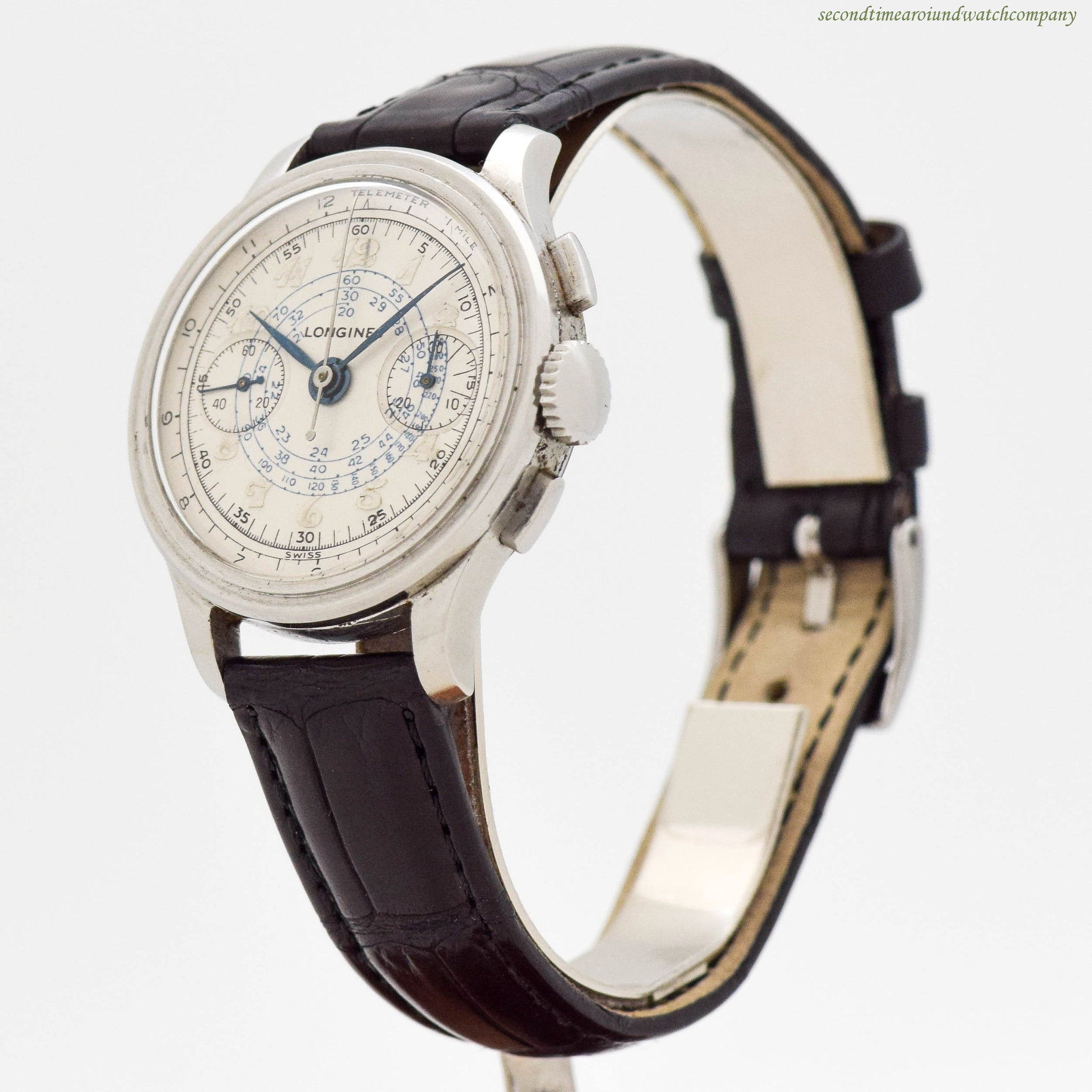 1939 Vintage Longines 2-Register Chronograph Stainless Steel Watch
