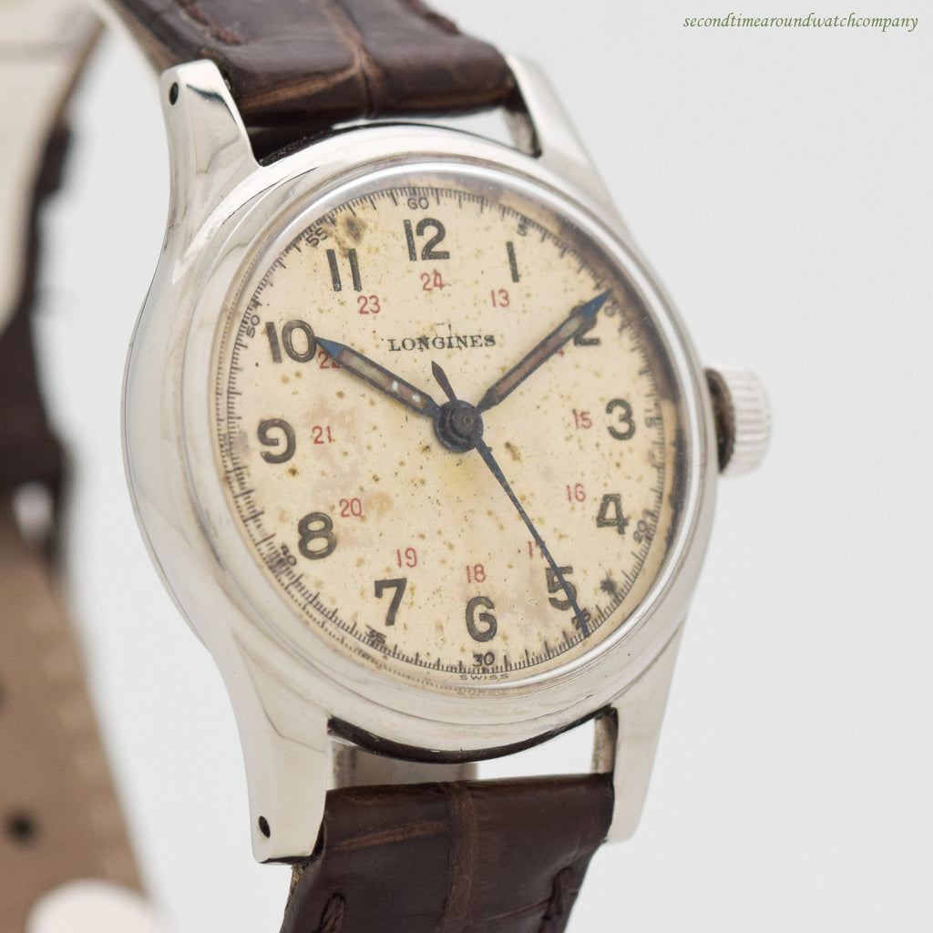 1949 Vintage Longines Post-WWII Military Stainless Steel Watch