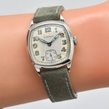 1928 Vintage Longines Cushion-shaped 14k White Gold Filled Watch (# 13421)