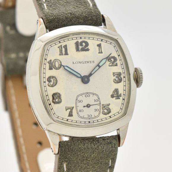 1928 Vintage Longines Cushion-shaped 14k White Gold Filled Watch