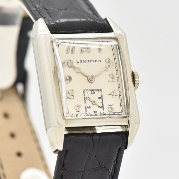 1925 Vintage Longines Rectangular-shaped 18k White Gold Watch (# 13348)