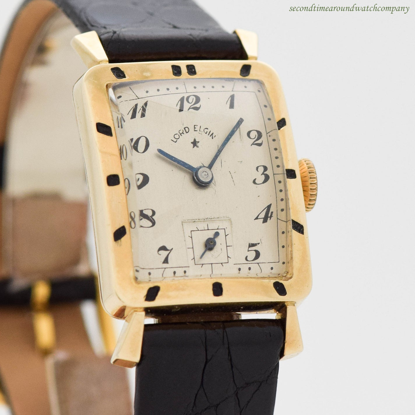 1954 Vintage Lord Elgin Art Deco Style 10k Yellow Gold Filled Watch Second Time Around Watch Company