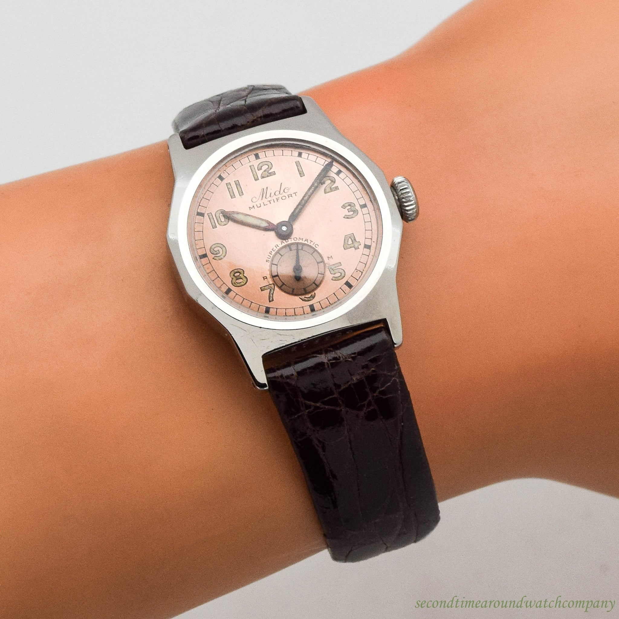 1960s Vintage Mido Multifort Stainless Steel Watch