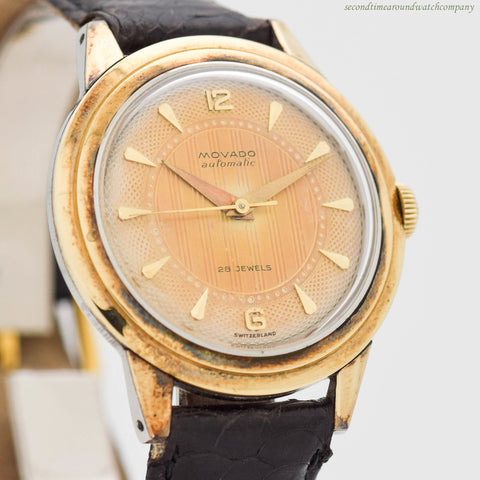 1960's Vintage Movado Automatic 14k Yellow Gold & Stainless Steel Watch