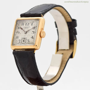 1920's Vintage Movado Chronometer Square-shaped 18K Yellow Gold Watch