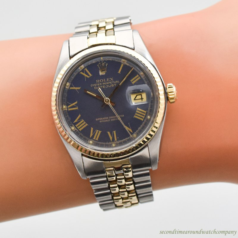 1977 Vintage Rolex Datejust Reference 1601 14K Yellow Gold & Stainless Steel Watch
