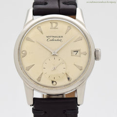 1960's Vintage Wittnauer Calendar Stainless Steel Watch