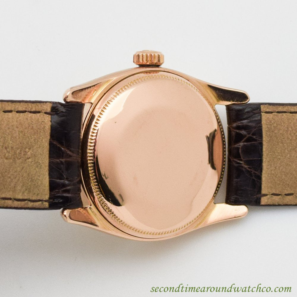 1957 Vintage Rolex Bombe Ref. 6090 18k Rose Gold Watch