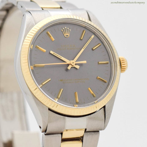 1973 Vintage Rolex Oyster Perpetual Ref. 1005 14k Yellow Gold & Stainless Steel Watch