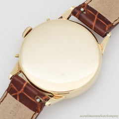 1950's Vintage Movado Triple Date Calendar 14k Yellow Gold Watch