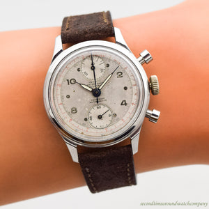1950's Vintage Olympic 2 Register Chronograph Stainless Steel Watch