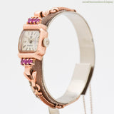 SOLD - 1960 Vintage Omega 14K Rose Gold & Rubies Ladies Watch
