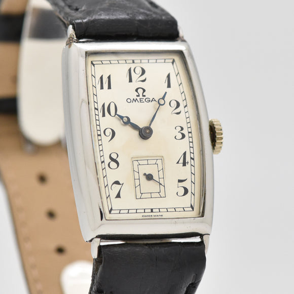 1934 Vintage Omega Rectangular-shaped Stainless Steel Watch (# 13425)