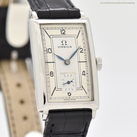 1936 Vintage Omega Rectangular-shaped Stainless Steel Watch