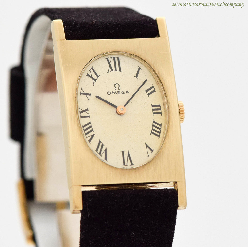 1963 Omega Rectangular-shape 14K Yellow Gold Watch