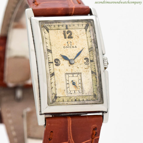 1938 Vintage Omega Rectangular-shaped Steel Watch