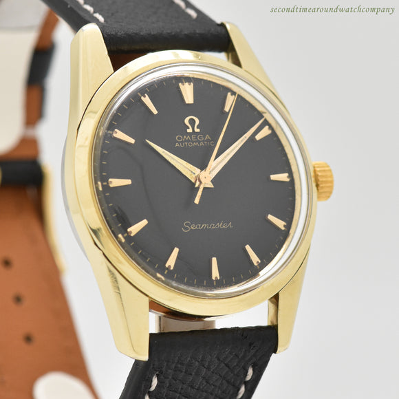 1961 Vintage Omega Seamaster Reference 14700-4-SC 14k Yellow Gold Shell Watch