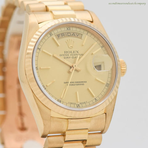 1986 Vintage Rolex Day-Date President Reference 18038 18k Yellow Gold Watch
