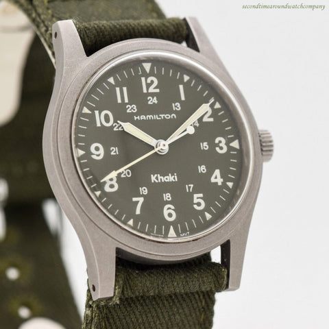 1980's-90's era Hamilton Military Field Khaki Stainless Steel Watch