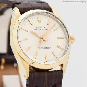 1967 Vintage Rolex Oyster Perpetual Ref. 1024 14k Yellow Gold Shell & Stainless Steel Watch