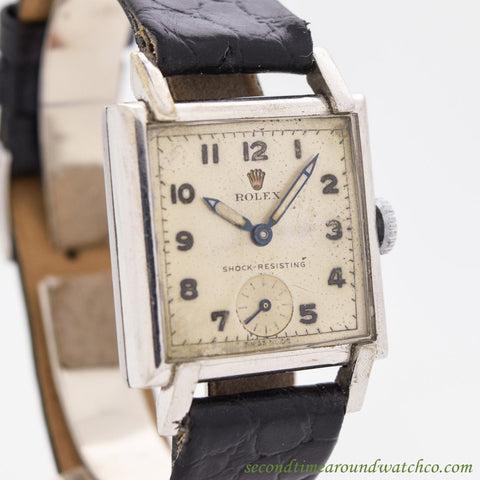 1940's Vintage Rolex Square-shaped Stainless Steel Watch