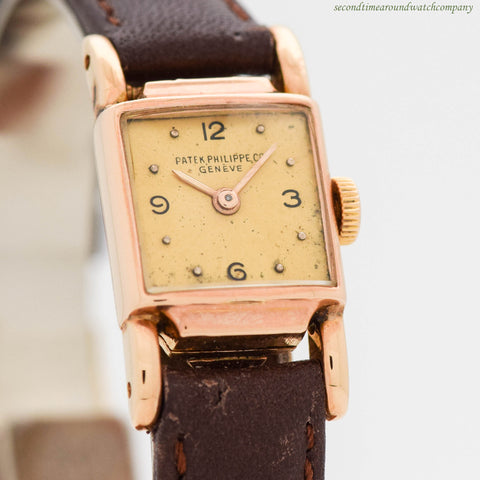 1940's Vintage Patek Philippe 18K Rose Gold Ladies Watch