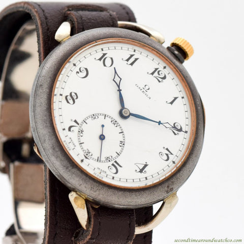 1900's Vintage Omega Pocket Watch Conversion with a Nickle & Chrome Case
