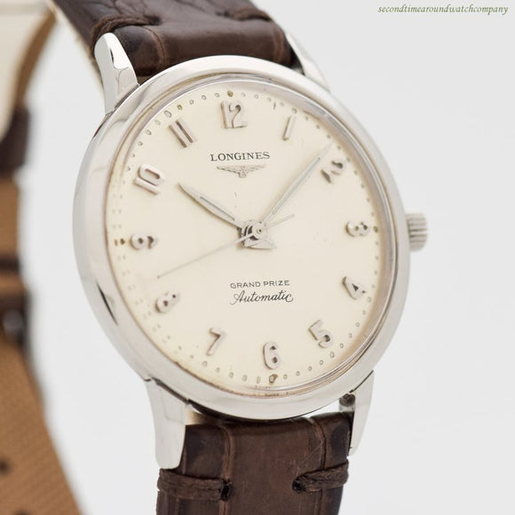 1962 Vintage Longines Grand Prize Reference 1200 Stainless Steel Watch