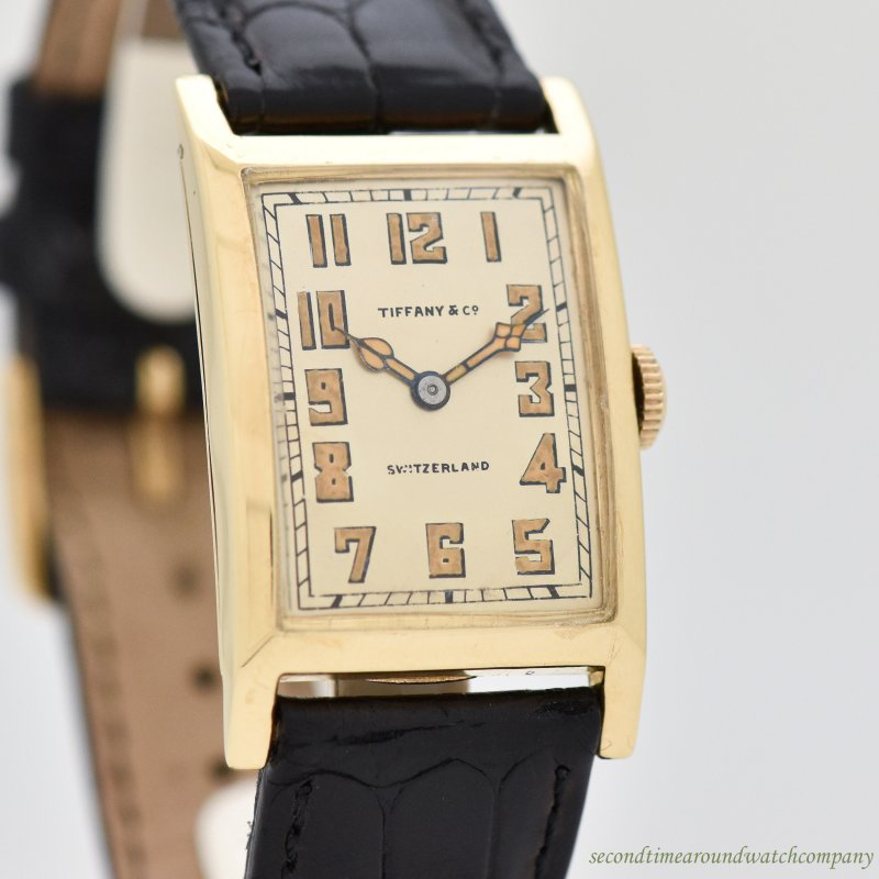 1924 Vintage Tiffany & Co. Rectangular-shaped 18k Yellow Gold Watch