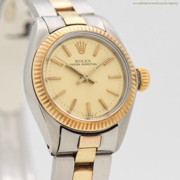 1977 Vintage Rolex Oyster Perpetual Ref. 6719 14k Yellow Gold & Stainless Steel Watch