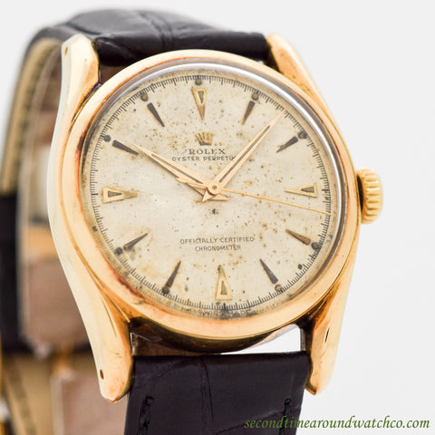 1955 Vintage Rolex Bombe Ref. 6018 18K Yellow Gold Watch