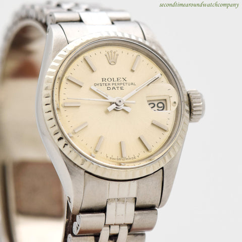 1970 Vintage Rolex Ladies Date Automatic Ref. 6517 14k White Gold & Stainless Steel Watch