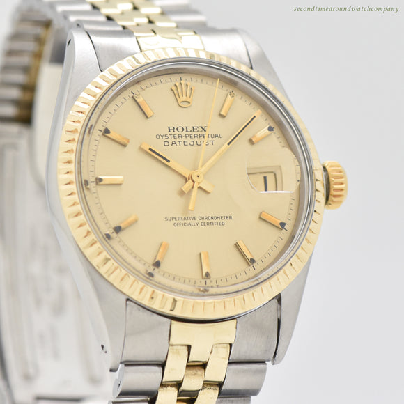 1969 Vintage Rolex Datejust Ref. 1601 14k Yellow Gold & Stainless Steel Watch