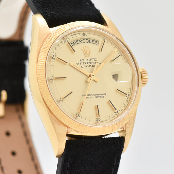 1962 Vintage Rolex Day-Date President Reference 1807 Bark Finish 18k Yellow Gold Watch