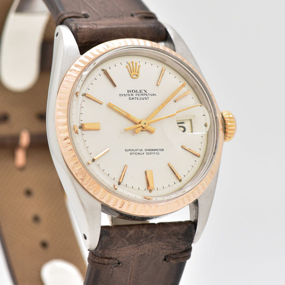 1965 Vintage Rolex Datejust Reference 1601 14k Rose Gold & Stainless Steel Watch