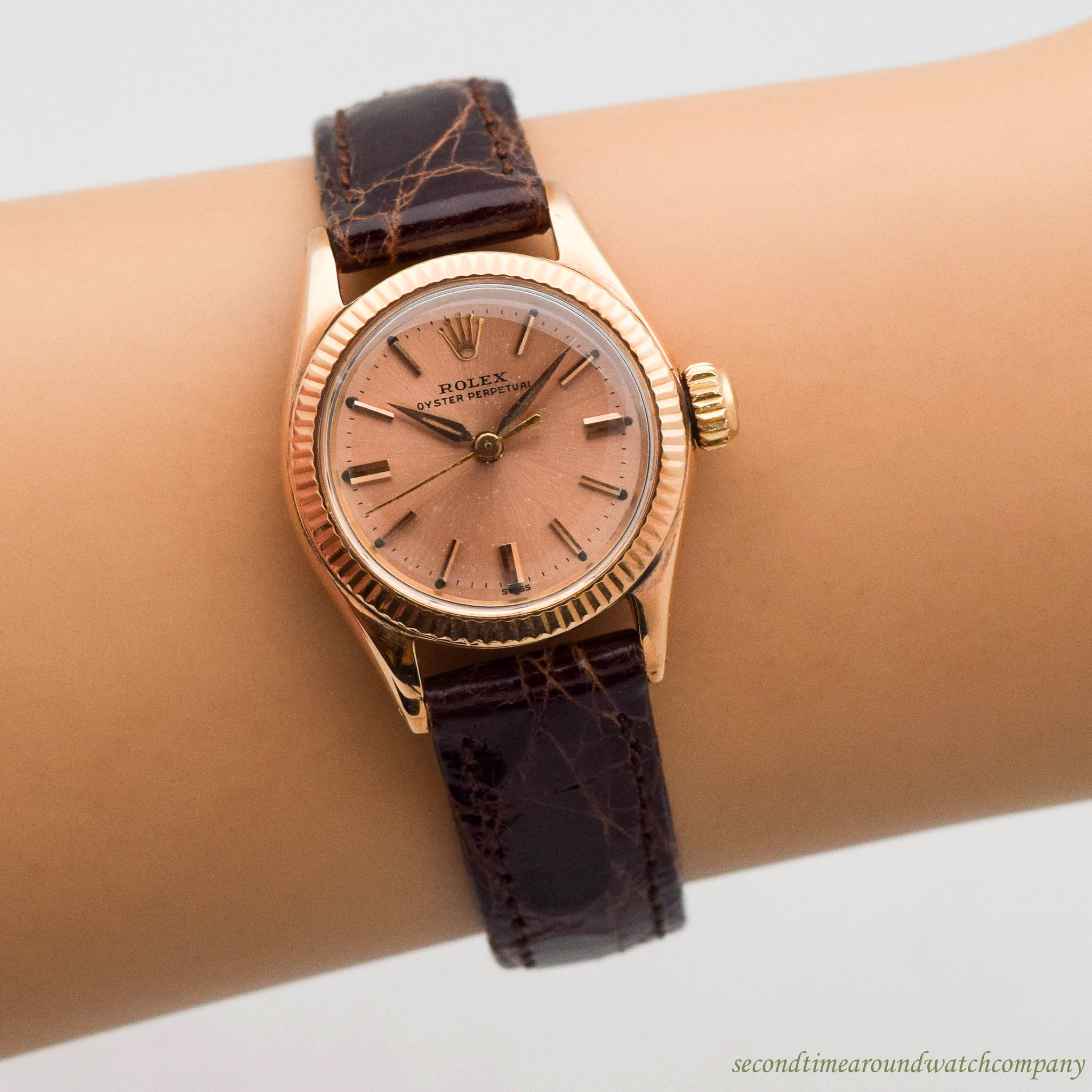 1960's Vintage Rolex Oyster Perpetual Ladies Ref. 6619 18K Rose Gold Watch