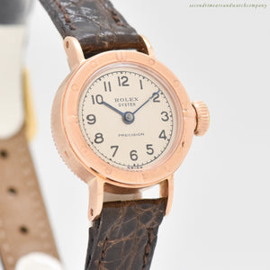 1954 Vintage Rolex Oyster Precision Reference 3694 Ladies 18k Rose Gold Watch