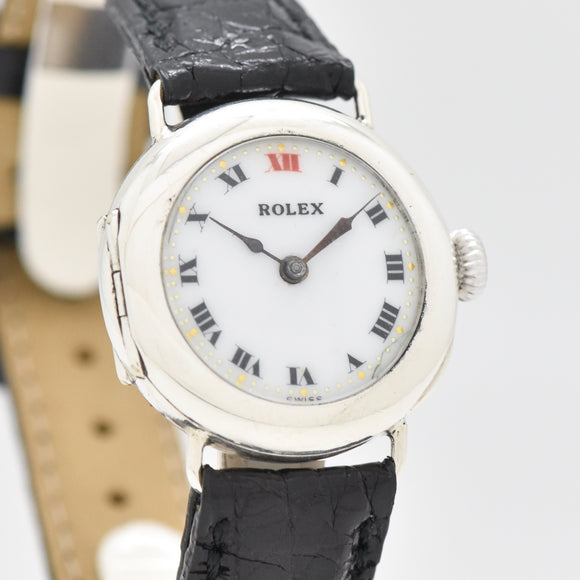 1910's Vintage Rolex WWI-era Military Nurse Watch in Silver