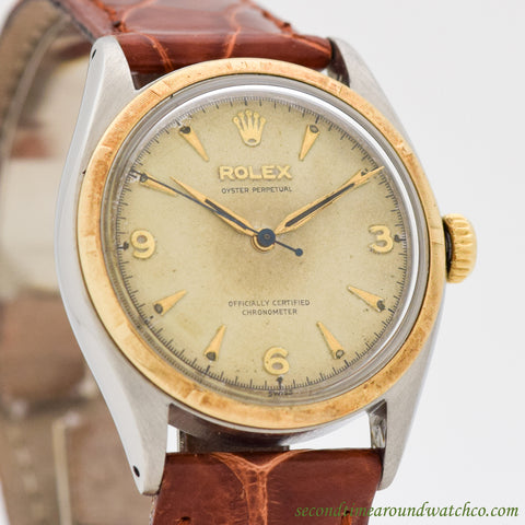 1957 Vintage Rolex Oyster Perpetual Ref. 6085 14k Yellow Gold & Stainless Steel Watch