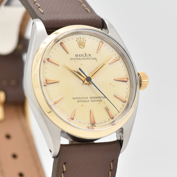 1961 Vintage Rolex Oyster Perpetual Reference 1005 14k Yellow Gold & Stainless Steel Watch (# 13308)