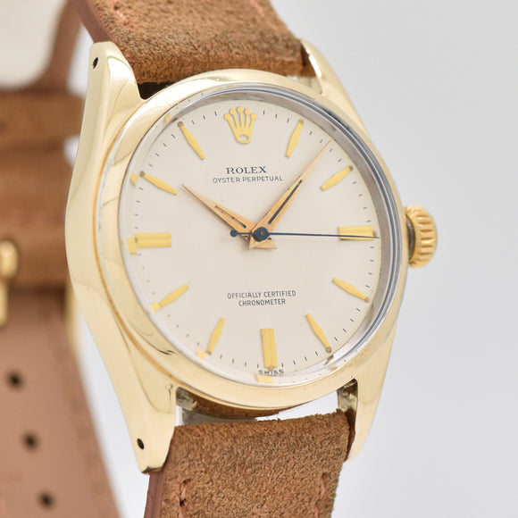 1961 Vintage Rolex Oyster Perpetual Reference 6634 14k Yellow Gold Shell & Stainless Steel Watch