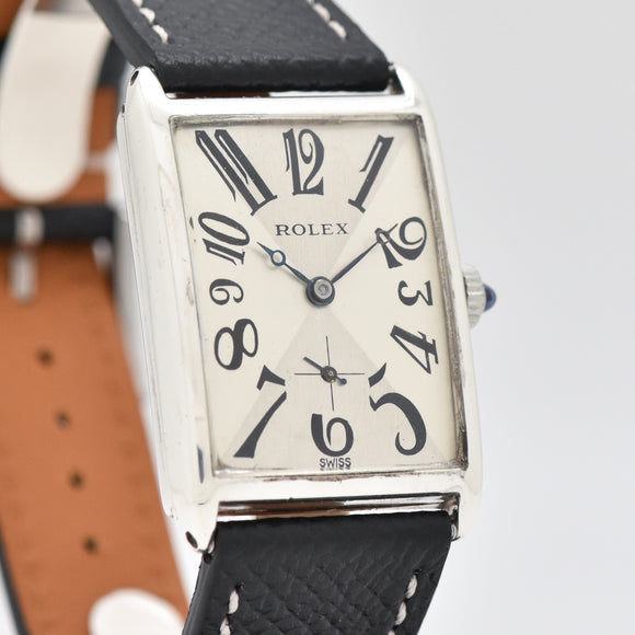 1930's Vintage Rolex Rectangular-shaped Sterling Silver Watch
