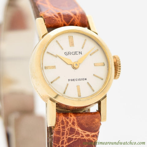 1960's Vintage Gruen Precision Ladies 14k Yellow Gold Watch